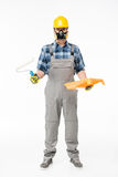 Workman with paint roller Royalty Free Stock Image