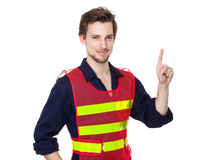 Workman pointing up. Isolated on white background Royalty Free Stock Image