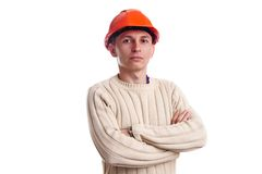 Workman in red helmet Royalty Free Stock Photography