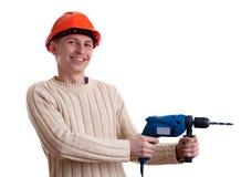Workman in red helmet Stock Photo