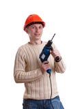 Workman in red helmet Royalty Free Stock Photo