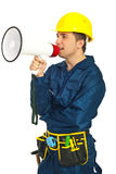 Workman shouting in megaphone Royalty Free Stock Images