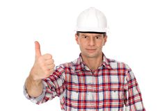 Workman showing thumbs up Royalty Free Stock Image