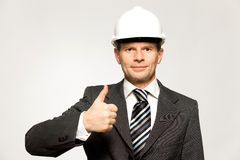 Workman showing thumbs up Royalty Free Stock Photos