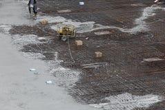 Workman spraying concrete Stock Photo