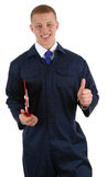 A workman with a thumbs up sign Royalty Free Stock Photography