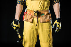 Workman in tool belt Royalty Free Stock Photo