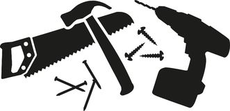 Workman tool with saw, hammer, nails and drill. Vector Stock Photography