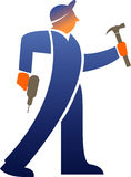 Workman with tools. An abstract, illustrated view of a workman carrying an electric drill and a hammer.  Bluish with a white background Royalty Free Stock Image