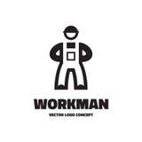Workman - vector logo template illustration. Worker sign concept. Human character. Design element Stock Photos
