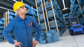 Workman on a warehouse Royalty Free Stock Photography