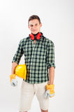 Workman wearing full protective gear Royalty Free Stock Photo