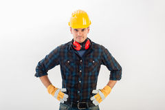 Workman wearing full protective gear Stock Photography