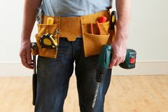 Workman Wearing Toolbelt. Close Up Of Workman Wearing Toolbelt Royalty Free Stock Image