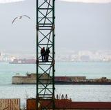 Workmen aloft Royalty Free Stock Photo