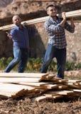 Workmen arranging building timber at farm Royalty Free Stock Photos