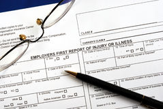 Workmen compensation injury claim form Royalty Free Stock Image