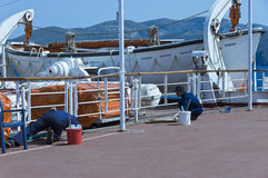 Workmen of cruise ship Stock Image