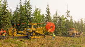 Workmen laying fibre optic cable in the northwest territories Stock Photography