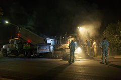 Workmen at night shift roadworks. Night shift roadworks with workmen asphalting the street of a residential area in Sydney, Australia Royalty Free Stock Photography