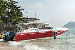 Workmen with  speed boat Royalty Free Stock Images