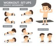 workout καθίστε το UPS Πληροφορίες γραφικές Στοκ φωτογραφία με δικαίωμα ελεύθερης χρήσης