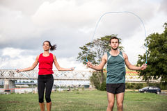 Workout με το πηδώντας σχοινί Στοκ Εικόνα