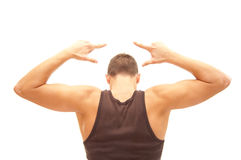 After workout. Athlete showing off his muscles after workout Stock Photography