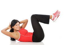 Workout. Happy young fitness woman  during workout Stock Photos