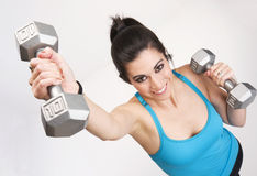 Barbell Lifting Gym Fitness Workout Happy Woman Royalty Free Stock Image