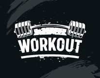 Workout Banner, Exercise in Gym with Barbell, Body Training, Creative Bodybuilding and Fitness Motivation Concept. Monochrome Black and White Typography vector illustration