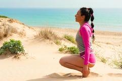 Workout on the beach royalty free stock photos