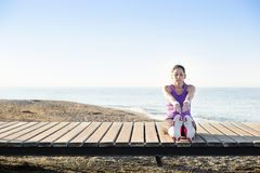 Workout on the beach Royalty Free Stock Images