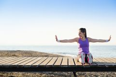 Workout on the beach Stock Image