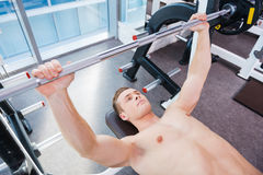 Workout on bench press. Stock Photos