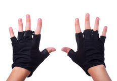 Workout black gloves on man hands Stock Photography