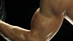 Workout for bulky muscles. stock footage