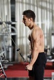 Workout at cable machine Royalty Free Stock Photos