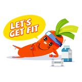 Workout carrot character design - vector. Illustration Royalty Free Stock Photos