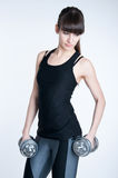 Workout with a dumbbell Royalty Free Stock Photo