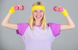 Workout with dumbbell. Workout sport and dieting. Woman workout in gym with sport equipment. Woman fitness coach royalty free stock photography