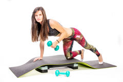 Workout with dumbbell Stock Image