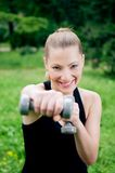 Workout with dumbbells Royalty Free Stock Photography
