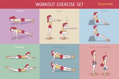 Workout Exercise Set Woman. A collection of Workout Exercise Routine performed by a young woman Stock Illustration