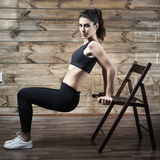 Workout exercises at home to lose weight. Woman training. royalty free stock image