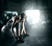 Workout with fitness ball Royalty Free Stock Image