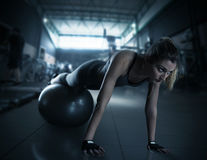 Workout with fitness ball Stock Image