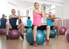 Workout with fitness balls Royalty Free Stock Image