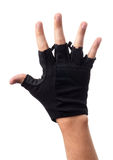 Workout fitness black fingerless leather glove. On man hand isolated on white background Stock Photography