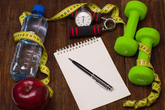 Workout and fitness dieting copy space diary. Healthy lifestyle concept. Royalty Free Stock Photos